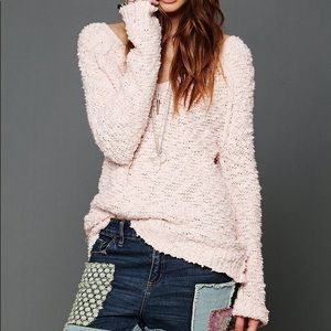 Free People Shaggy Pullover Knit Sweater Top Pink